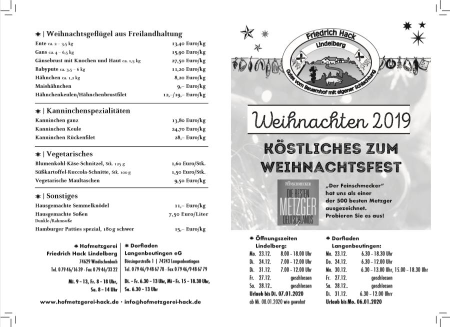 Weihnachtsangebot Hofmezgerei Hack Pfedelbach